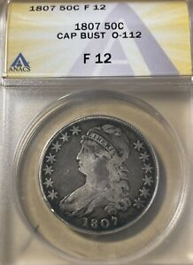 1807 ANACS F12 Capped Bust Silver Half Dollar