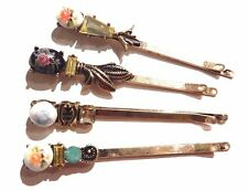 4 VICTORIAN INSPIRED CAMEO BOBBY PIN SET rhinestone bronze gold hair clip lot H1