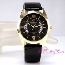 Gold Plated Case Polished Unisex Round Wristwatches