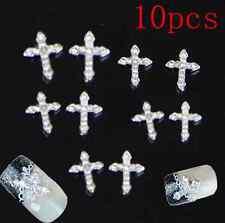 3D Crystal Cross Alloy Rhinestone Tie Nail Art Slices DIY Decorations hs 10pcs