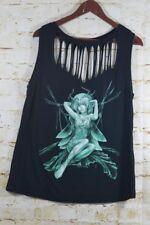Fairies By Trick Juniors 2X  Black Shredded T Shirt Front Back Fairy Sleeveless