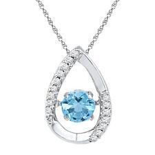 Parpadeo Diamante Colgante Piedra Preciosa 10k Oro Blanco Flotante Topacio