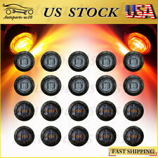 """US 20x LED Marker Lights Smoked Red/Rmber Truck Trailer 3/4"""" Clearance Light"""