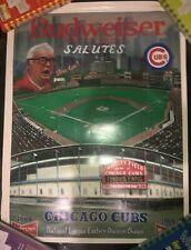 Rare CHICAGO CUBS POSTER ~ 1984 Bud Man Haray Caray Man Cave Cub Fan