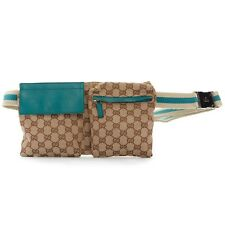 GUCCI GG brown monogram canvas teal blue leather pouch fanny pack waist belt bag