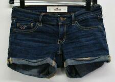 Hollister Women's 00 W23 Low Rise Cropped Denim Jeans Shorts Jorts Stretch Blue