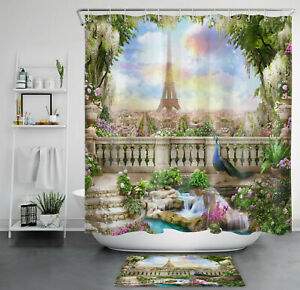 Sky Garden Peacock Eiffel Tower Various Flower Shower Curtain Set Bathroom Decor
