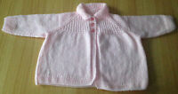BRAND NEW HAND-KNITTED PINK BABY JACKET/CARDIGAN TO FIT 3-6 MONTHS