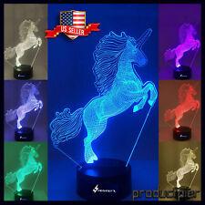 Unicorn 3D LED Night Light, LED Table Desk Lamp Home Decoration Remote control