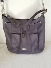 Coach Avery Pebbled Leather Drawstring Crossbody Bucket Bag Gray Purple