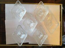Set of six Glass pedestal Diamond shaped dishes