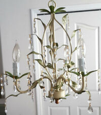 PETITE ITALY LEAF CRYSTAL PRISM 3 Light Natural HUES finish Elegant Chandelier