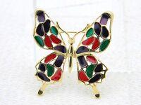 VTG TRIFARI TM Gold Tone Multi-Color Enamel Figural Butterfly Brooch Pin