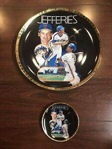 2 Gregg Jefferies Mets Sports Impressions Gold Edition Plates 10.5/4.25 Inch NOS