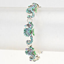 Sea Horse Chain Link Bracelet SILVER BLUE Magnetic Clasp Nautical Beach Jewelry