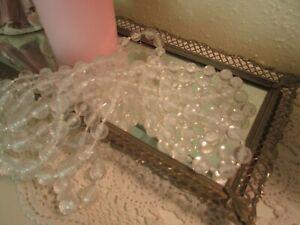 Vintage Clear Plastic Bead Christmas Garland 9' Strand Mantel or Sm Tree