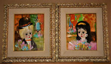 Santini Poncini Boy and Girl Pair of Children Paintings Oil on Canvas French