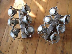 Vintage Industrial , Factory , Metal Wall Spot Lights . Set of Two. Pair.