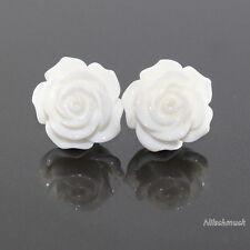 Damen weiß  Harz Blumen Ohrring/ Ohrstecker 14,5mm Edelstahl  Modeschmuck