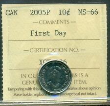 "2005P Canada 10 cent Certified ICCS MS-66 ""First Day"""