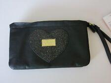 Luv Betsey Johnson Wristlet Purse Bag Tote Travel Black Metallic Heart Wallet