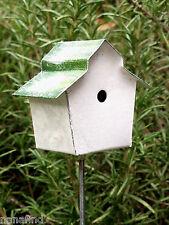 Miniature Dollhouse FAIRY GARDEN ~ Vintage Style Green Roof Birdhouse Pick NEW
