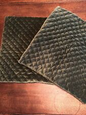 "Pair Of Vintage Pottery Barn 20"" Quilted Velvet Pillow Covers~Dark Green"