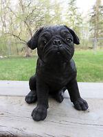 "PUG DOG PUPPY FIGURINE STATUE RESIN PET 7.5"" H CANINE  BLACK ornament new"
