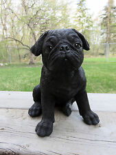 "PUG DOG PUPPY FIGURINE STATUE RESIN PET 7.5"" H CANINE  BLACK ornament new"