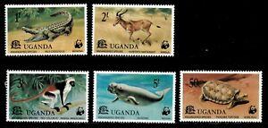 Uganda 1977 - WWF ENDANGERED SPECIES - Set of 5 (Scott #176-80) - MNH