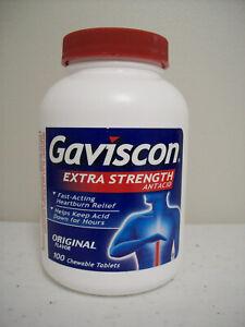 Gaviscon Extra Strength Antacid Original Flavor 100 Chewable Tablets 04/2024