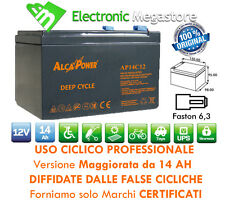 Batteria Ricaricabile Piombo USO CICLICO 12V Volt 12Ah 14Ah per bici elettriche