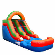 Pogo Bounce House 12ft. Tall Rainbow Single Lane Jumper With Blower Inflatable Wet/Dry Slide