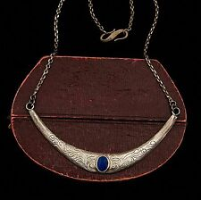 Antique Vintage Art Deco Sterling Silver Chinese Carved Lapis Lazuli Necklace!