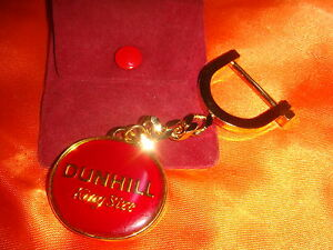 Dunhill Red Enamel Gold-Plated Metal Key Chain, Scarce Collectible
