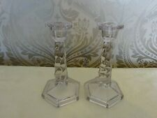 Vintage Retro Pair of Glass Twisted Candlesticks Candle Holders 19cm tall