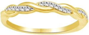 Simulated Diamond Elegant Twisted Promise Love Shiny Ring  14k Yellow Gold Over