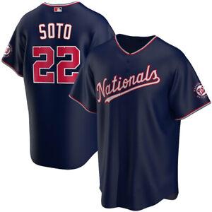 Juan Soto #22 Washington Nationals Navy AOP Baseball Jersey S-4XL