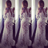New Women Wild Long Sleeve Lace Dress Mermaid Evening Formal Party Maxi Dresses