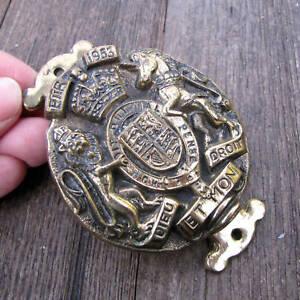 Old Brass Royal Coat of Arms Queens Coronation 1953 Door Knocker