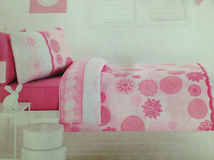 3 pce Madeleine Double Bed Quilt Cover Set Pink Floral Girls Bedroom Bedding