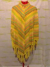 Vintage 1970s Bright Yellow Zig Zag Chevron BoHo Sweater Cape Poncho With Fringe