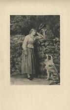 ANTIQUE VICTORIAN GIRL COLLIE DOG GENTLEMAN COBBLESTONE WALL TREES ETCHING PRINT