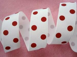 """5 yards Polka Dot Grosgrain 7/8"""" Ribbon/bow/craft/polyester/23mm WHITE/Red R43-T"""