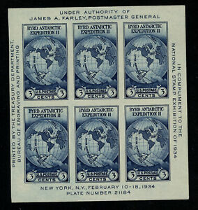 SCOTT #735 1934 BYRD ANTARCTIC ISSUE SOUVENIR SHEET ISSUE MNH NGAI VF CAT $10!