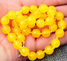 Beautiful elegant 10mm Faceted South American Yellow Topaz Necklace 18 inches AA