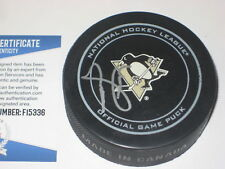 MIKE LANGE Signed Pittsburgh PENGUINS Official GAME Puck w/ Beckett COA
