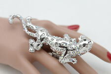 Bling Fancy Tiger Animal Leopard Bling Women Silver Ring Fashion Metal Big Long