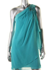 JS BOUTIQUE ~ Aqua Draped Chiffon Beaded One Shoulder Party Dress 2 NEW $198