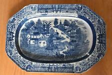 EARLY blue & white transferware pearlware large platter c.1790 (A671)
